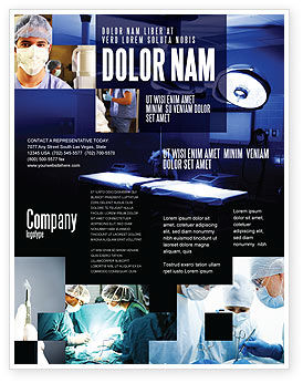 Operation Room In Dark Blue Flyer Template, 07560, Medical — PoweredTemplate.com