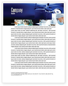Medical: Operation Room In Dark Blue Letterhead Template #07560
