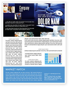 Operation Room In Dark Blue Newsletter Template, 07560, Medical — PoweredTemplate.com