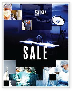 Medical: Operation Room In Dark Blue Sale Poster Template #07560