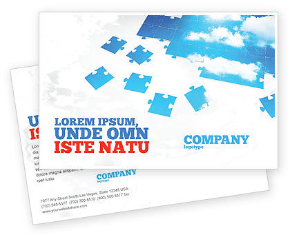 Consulting: Sky Puzzle Postcard Template #07563