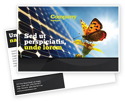Solar Power Postcard Template, 07566, Technology, Science & Computers — PoweredTemplate.com
