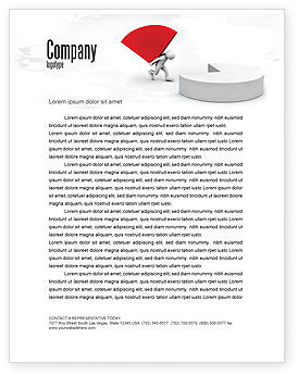 Pie Chart Sector Carried By Man Letterhead Template