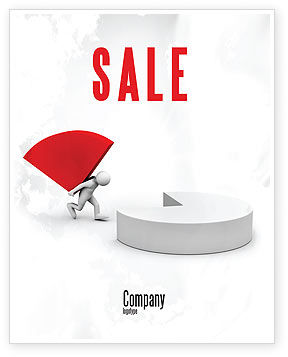 Consulting: Pie Chart Sector Carried By Man Sale Poster Template #07619
