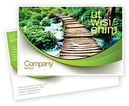 Wooden Path Postcard Template, 07621, Business Concepts — PoweredTemplate.com