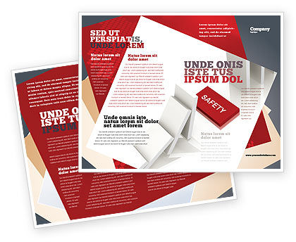 Safety Domino Theme Brochure Template, 07633, Business Concepts — PoweredTemplate.com