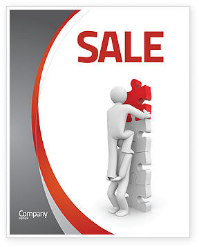 Jigsaw Ladder Sale Poster Template, 07644, Consulting — PoweredTemplate.com