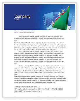 Business Concepts: Rising Rates 3D Histogram Letterhead Template #07652
