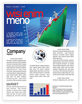Rising Rates 3D Histogram Newsletter Template, 07652, Business Concepts — PoweredTemplate.com