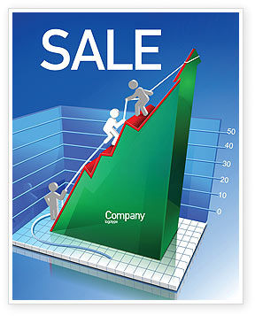 Business Concepts: Rising Rates 3D Histogram Sale Poster Template #07652