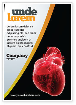 Model Of Heart Ad Template, 07662, Medical — PoweredTemplate.com