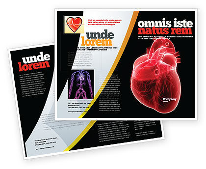 Medical: Model Of Heart Brochure Template #07662