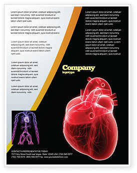 Model Of Heart Flyer Template, 07662, Medical — PoweredTemplate.com