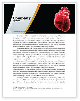 Model Of Heart Letterhead Template, 07662, Medical — PoweredTemplate.com