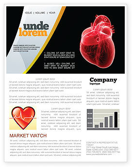 Model Of Heart Newsletter Template, 07662, Medical — PoweredTemplate.com