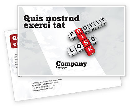 Financial/Accounting: Profit and Risk Postcard Template #07669
