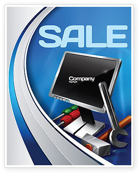 Computer Tech Help Sale Poster Template, 07726, Utilities/Industrial — PoweredTemplate.com