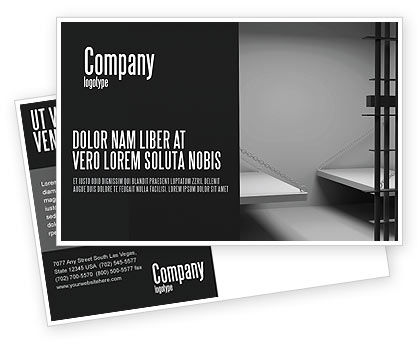 Legal: Prison Cell Postcard Template #07771