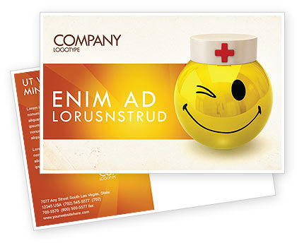 Doctor Emoticon Postcard Template, 07777, Medical — PoweredTemplate.com