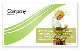 People: Little Girl Business Card Template #07818
