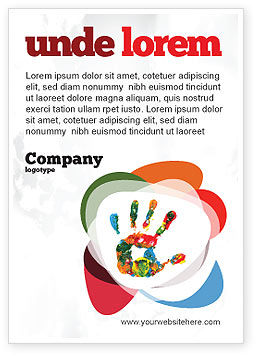 Education & Training: Colorful Hand Print Ad Template #07840