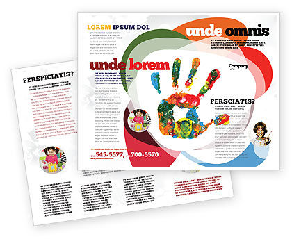 Colorful Hand Print Brochure Template, 07840, Education & Training — PoweredTemplate.com