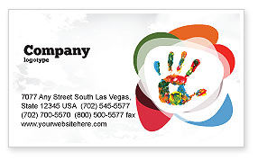 Colorful Hand Print Business Card Template, 07840, Education & Training — PoweredTemplate.com