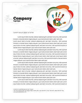 Colorful Hand Print Letterhead Template, 07840, Education & Training — PoweredTemplate.com