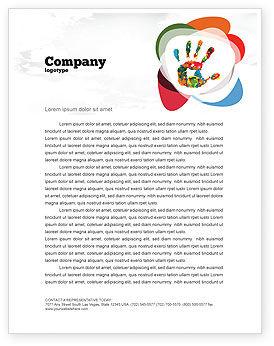 Education & Training: Bunter handdruck Briefkopf Vorlage #07840