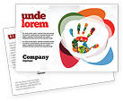 Education & Training: Colorful Hand Print Postcard Template #07840