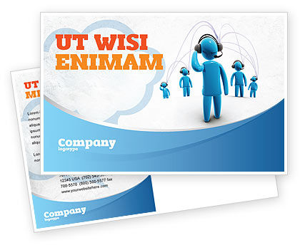 Wireless Community Postcard Template, 07910, Telecommunication — PoweredTemplate.com