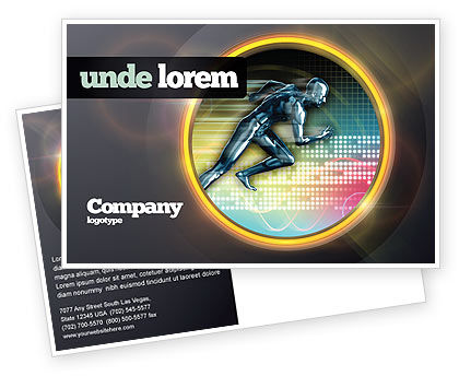 Sports: Running Iron Man Postcard Template #07928