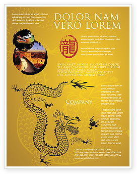 Chinese Dragon Flyer Template, 07985, Holiday/Special Occasion — PoweredTemplate.com