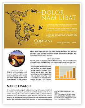 Chinese Dragon Newsletter Template, 07985, Holiday/Special Occasion — PoweredTemplate.com