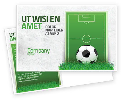 European Football Field Postcard Template, 08032, Sports — PoweredTemplate.com