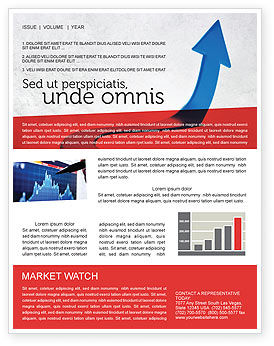 Blue Arrow Path Newsletter Template, 08043, Business Concepts — PoweredTemplate.com