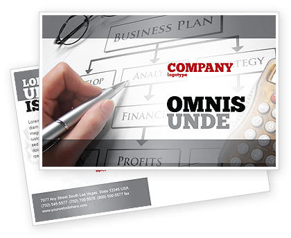 Business Plan Analysis Postcard Template, 08068, Consulting — PoweredTemplate.com