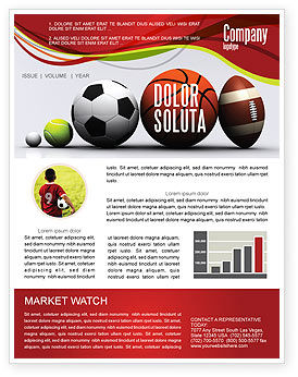 Sport Balls Newsletter Template, 08071, Sports — PoweredTemplate.com