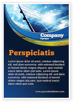Technology, Science & Computers: Zonnepanelen In Blauwe Kleuren Advertentie Template #08112