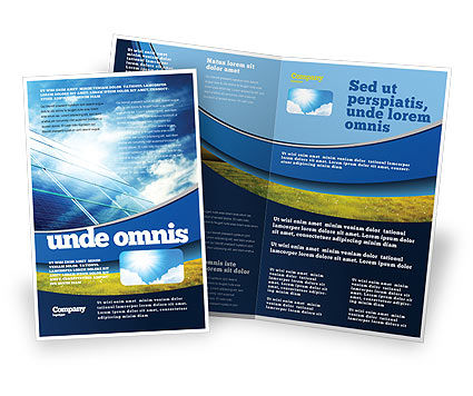 Solar Panels In Blue Colors Brochure Template, 08112, Technology, Science & Computers — PoweredTemplate.com