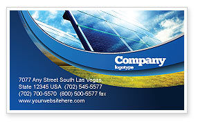 Technology, Science & Computers: Solar Panels In Blue Colors Business Card Template #08112