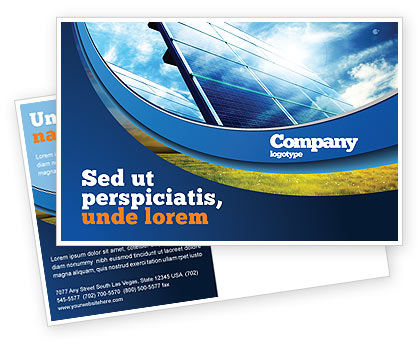 Solar Panels In Blue Colors Postcard Template
