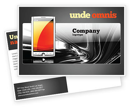 Technology, Science & Computers: Touchscreen Phone Postcard Template #08125