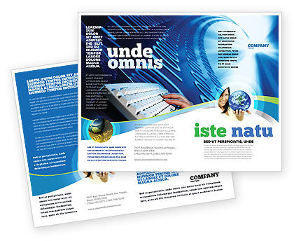 Typing Brochure Template, 08139, Technology, Science & Computers — PoweredTemplate.com