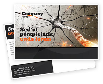 Neurons Networks Postcard Template, 08156, Medical — PoweredTemplate.com
