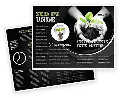 Sprout In Hands Brochure Template, 08162, Agriculture and Animals — PoweredTemplate.com