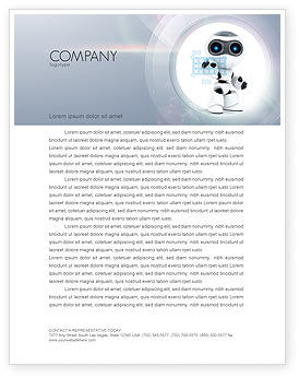 Technology, Science & Computers: Robot Model Letterhead Template #08181