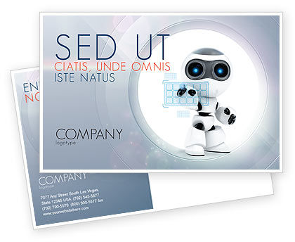 Robot Model Postcard Template, 08181, Technology, Science & Computers — PoweredTemplate.com