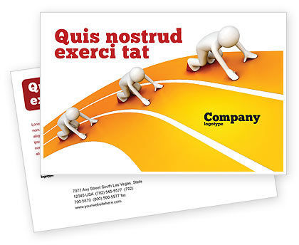 Sprint Runners Postcard Template, 08194, Education & Training — PoweredTemplate.com