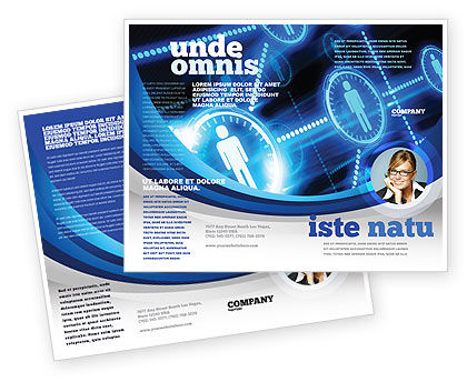 People's Network Brochure Template, 08275, Technology, Science & Computers — PoweredTemplate.com
